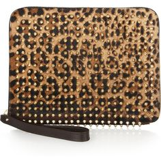 Christian Louboutin Cris studded leopard-print calf hair iPad case ($750) ❤ liked on Polyvore