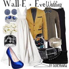 Wall-E + Eve Wedding, created by lalakay on Polyvore disney - This would be not a wonderland wedding too.