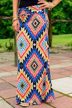 The Vogue Fashion: Aztec Print Fiesta Maxi Skirt