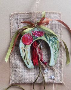 Lucky Horseshoe / Lucky Charm / Good Luck Charm / Pomegranate Decorated / Totally Handpainted by allabouthandicraft on Etsy Merry Christmas, Christmas Ornament Crafts, Christmas In July, Christmas Projects, Diy And Crafts, Christmas Crafts, Horseshoe Crafts, Lucky Horseshoe, Clay Cross