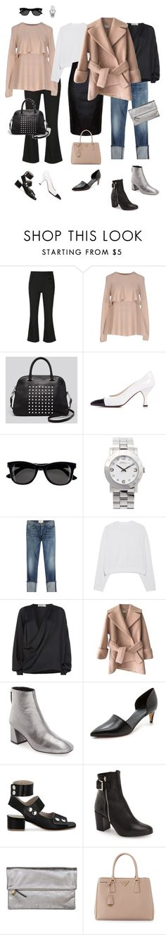"""""""Ensemble: Easy Black & Blush"""" by youlookfab ❤ liked on Polyvore featuring Proenza Schouler, Brunello Cucinelli, Milly, Chanel, H&M, Marc by Marc Jacobs, Current/Elliott, Acne Studios, Victoria Beckham and Carven"""