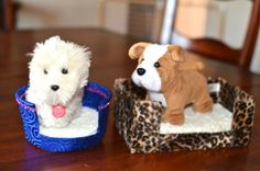 """Look what we made! DIY DOG beds for your American girl or 18"""" doll pets! SO easy- took about 25-35 minutes per bed! Check it out!"""