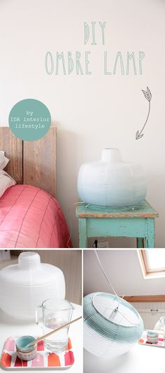 Paint a paper lampshade with acrylic paint and water