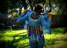 Denim fringe shirt boho chic upcycled clothing tribal by luluxo, $28.00