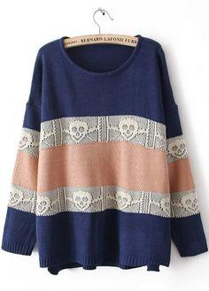 Blue Long Sleeve Striped Skull Pattern Sweater