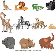 Vector illustration set of funny exotic animals