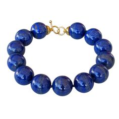 View this item and discover similar for sale at - Beautiful Lapis Lazuli Beads Necklace finished with a gold plated silver clasp. 13 Lapis Lazuli beads, natural color (no treatment) each bead measuring Beaded Jewelry, Jewelry Necklaces, Beaded Bracelets, Jewelry Accessories, Jewelry Design, Lapis Lazuli Jewelry, Antique Necklace, Modern Jewelry, Creations
