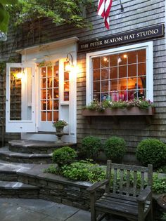 Love the window box, stepped entrance, doorway details~ Boxwood to frame front and side porch~ ❤️ Nantucket Style, Nantucket Island, Coastal Style, Side Porch, New England Homes, Shops, Brick And Stone, Shop Around, Shaker Style
