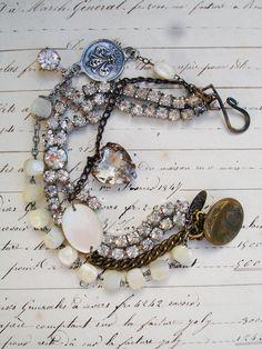 3 Strands Bracelet with Rhinestone Bow by PaulaMontgomery on Etsy, $100.00