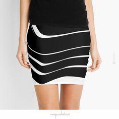 'Organic 10 Black & White' Skirt by Menega Sabidussi @redbubble Women Casual Designer Print Clothing #fashion  #aparrel #lifestyle #skirt