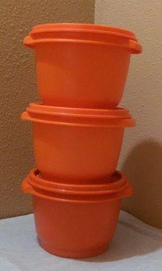 Harvest Orange Tupperware Bowls Set of 3 w/Lids #886-9  #886-12