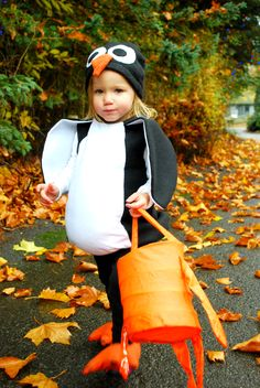 DIY penguin Halloween costume- except for a big girl not a toddler :)