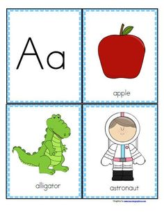FREE This is a set of colorful flashcards for games and activities for preschool pre-K and Kindergarten children. Great for ESL and special ed. The emphasis in this set is on the relationship between the beginning, or initial sounds of words, and the lett