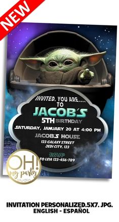 BABY YODA INVITATION, BABY YODA INVITE, THE MANDALORIAN INVITATION, THE MANDALORIAN BIRTHDAY INVITATION, THE MANDALORIAN BIRTHDAY PARTY, BABY YODA INVITATIONS, JEDY INVITATION, BABY YODA BIRTHDAY INVITATION, BABY JODA PARTY, BABY YODA BIRTHDAY, BABY YODA INVITATION, BABY YODA BIRTHDAY INVITATION, BABY YODA PARTY, BABY YODA INVITATIONS, BABY YODA INVITATION Diy Birthday Invitations, 40th Birthday Cards, Star Wars Birthday, Star Wars Party, First Birthday Parties, Boy Birthday, For Your Party, Party Printables, Invite
