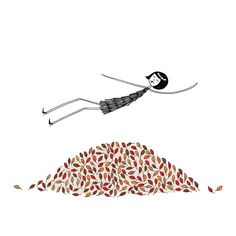 Autumn leaves // 4x6 art print // Eloise jumps in a pile of leaves. $5.00, via Etsy.