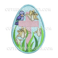 Here's another free embroidery design from Cute Embroidery.  It's an Easter egg.
