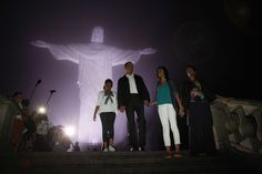U.S. President Barack Obama, first lady Michelle Obama and their daughters Sasha (L) and Malia tour Christ the Redeemer statue on Corcovado in Rio de Janeiro late March 20, 2011. REUTERS/Jason Reed (BRAZIL - Tags: POLITICS TRAVEL RELIGION) via @AOL_Lifestyle Read more: https://www.aol.com/article/news/2017/01/25/republican-threatened-to-deport-muslim-obama-and-family/21662465/?a_dgi=aolshare_pinterest#slide=4353017
