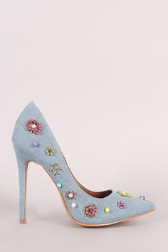 Shoe Republic LA Denim Beadwork Pointy Toe Pump - Avenue of Angels Pump Shoes, Pumps, Beadwork Designs, Stiletto Heels, Denim Man, Womens Fashion, Products, Easy, Trendy Dresses