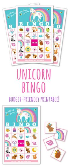 Unicorn and woodland animal bingo, perfect activity for a unicorn birthday party. Super-affordable printable, instant download. #unicorn #unicornio #unicornparty #unicornioparty #bingo #game #printable #activity #affiliate #etsy