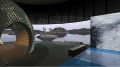 Mallinnuskuva rendered view of the exhibition hall Nature Center, Visual Identity, Opera House, Centre, Spaces, 3d, Building, Corporate Design, Buildings