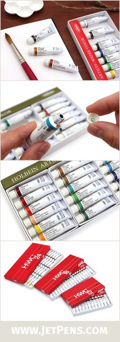 The Japanese Holbein Artists' Watercolors feature brilliant colors, great for artists! These watercolors are free of dispersants, making them ideal for fine details and lettering.