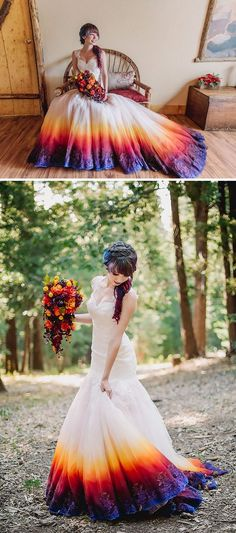 """Wedding dresses have become just a little more """"outside the box"""" thanks to this colorful trend. What's even cooler is that, not only can you order these dresses and more here, you can also do-it-yours"""