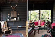 Colorful and vibrant outdoor #patio of a #vacation lodge. Loving this playfully #rustic mountain style!