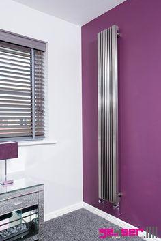 "Geyser ""STRATI"" Brushed Stainless Designer Radiator. Bedroom. #brushedstainlessradiator #stainlesssteelradiator #designerradiator"