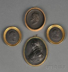 Four Wedgwood Black Basalt Portrait Medallions,