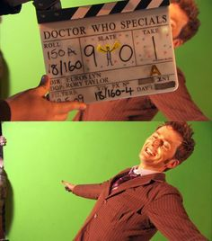 Behind the scenes. I love the little regenerating stick man! And David's face of course.