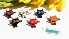 Clara Cat Wooden Badge available in black ginger by BoughtoBeauty, £10.00