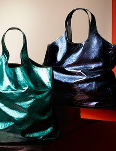 Bright metallic leather carrier bags from the Burberry S/S13 runway