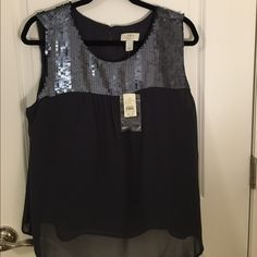 Loft Petite Sequined Blouse Adorable sequined greyish navy chiffon blouse from Loft petite! It is fully lined so its not see through. Perfect with heels OR sandals! I'd be happy to provide you with any measurements if you're concerned about the length :) LOFT Tops Blouses