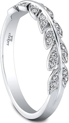 Jeff Cooper Leaf Motif Diamond Wedding Band  : This delicate diamond wedding band by Jeff Cooper features round brilliant cut diamonds pave set in a leaf motif along the shank.     Coordinates perfectly with my engagement ring and wrap - this would be a perfect anniversary band someday!