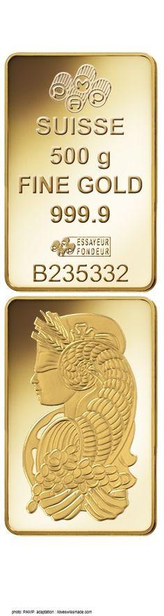 Pamp Fortuna Gold 500g Ingot , photo Courtesy PAMP, adapted to Pinterest by iLoveSwissMade