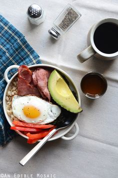 Savory Oatmeal Breakfast Bowls with Smoky Garlic Greens and Chipotle-Honey Vinaigrette Recipe // @AnEdibleMosaic