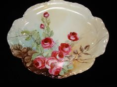 Antique Haviland French Limoges Large Roses Serving Tray Plate, Signed And Dated 1903