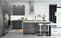 ikea meuble design ilot central cuisine moderne tabourets idée