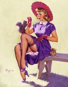20th-century-man:    Making Friends; illustration by Gil Elvgren, 1951.