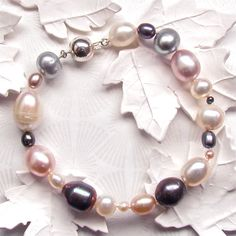 Items similar to Pearl bracelet, White, Pink, and Black freshwater pearl bracelet, Tears from the Moon Bracelet in multi coloured Freshwater Pearl on Etsy Freshwater Pearl Bracelet, Pearl Necklace, South Sea Pearls, Timeless Design, Fresh Water, Trending Outfits, Unique Jewelry, Bracelets, Handmade Gifts