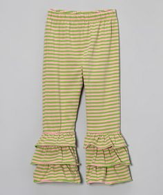 Green & Pink Stripe Ruffle Pants - Infant, Toddler & Girls #zulily #zulilyfinds