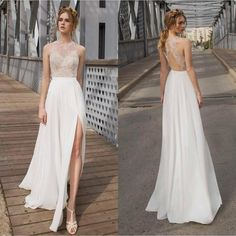 2015 Summer Side Slit Wedding Dresses Sexy Beach Goddness Bridal Gowns with Beading Top Cut Out Back Ivory Chiffon Skirt Long Formal Prom