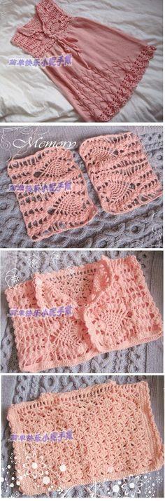 dress with cuts spokes and rim. Filet Crochet, Crochet Cap, Crochet Fabric, Crochet Shawl, Crochet Patterns, Mode Crochet, Crochet Girls, Crochet Woman, Crochet For Kids