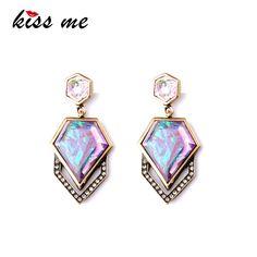Dazzle Warna Geometris Imitasi Gems Merek Designer wanita Trendy Drop Earrings Pabrik Grosir