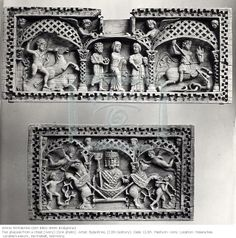 Alexander the Great in Imperial regalia - Panels from Ivory casket 11th C ivory.  Hessische Landesmuseum, Darmstadt,