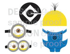 Minion Despicable Me images goggles overalls logo yellow hair halloween costume birthday party DIY Printable Instant Download iron on t shirt, onesie, bag