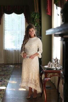 cool Modest cream lace Hamptons Dinner Dress with ruffles. Modest Skirts, Modest Outfits, Modest Fashion, Fall Dresses, Cute Dresses, Beautiful Dresses, Dress With Bow, Lace Dress, Cranberry Dress