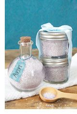 Homemade Bath Salts Recipe from homemadesimple.com  MATERIALS   1 cup Epsom salts*  1/2 cup kosher salt  1 quart-size, freezer-grade re-sealable plastic bag  Food coloring  Essential oils**  Baking sheet  Wax paper  Funnel  Mason jar, for storage.  SEE COMMENTS FOR SOME INSTRUCTIONS.
