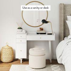 Makeup Desk, Gold Makeup, Chanel Makeup, Vanity Desk, Desk With Drawers, Mid Century Style, Furniture Companies, Home Furnishings, Bedroom Decor