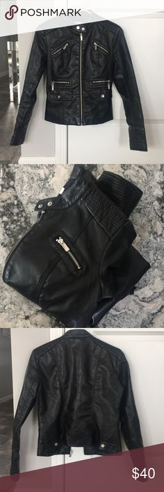 Gorgeous New York & Co jacket Beautiful! Well made. Can't tell it's not real leather. No flaws or imperfections. All buttons and zippers work. Great condition. Dress up or down. This piece is an absolute must have staple in any girls closet. Xs but fits a small as well. New York & Company Jackets & Coats